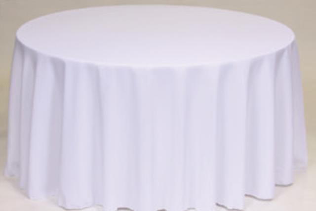 Where to find L120  White Round Table Linen in Delano